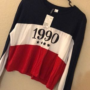 H&M 1990 Red White & Blue Long Sleeve Crop Like